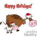 3438-spotted-calf-by-a-mom-dairy-cow-with-santas-hats  gif, png, jpg, eps, svg, pdf