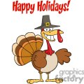 Happy Holidays Greeting With Turkey Cartoon Character