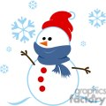 snowman wrapped in a blue scarf