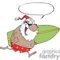 African-American-Santa-Running-With-A-Surfboard-With-Speech-Bubble