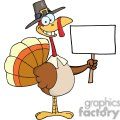 3524-Happy-Turkey-With-Pilgrim-Hat-Holding-A-Blank-Sign vector clip art image