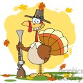 3521-Happy-Turkey-With-Pilgrim-Hat-and-Musket vector clip art image