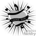 grey heart with black i love you ribbon gif, png, jpg, eps, svg, pdf