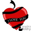red heart with black I love you ribbon