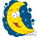 4113-Happy-Moon-Mascot-Cartoon-Character-In-The-Sky