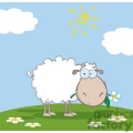 white cartoon sheep on a hill