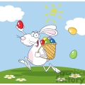 white bunny rabbit delivering colored eggs