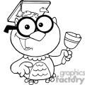 4301-Owl-Teacher-Cartoon-Character-With-Graduate-Cap-And-Bell