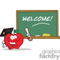 4306-Graduate-Apple-Character-Holding-A-Diploma-In-Front-Of-School-Chalk-Board