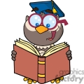 4308-Owl-Teacher-Cartoon-Character-With-Graduate-Cap-Reading-A-Book