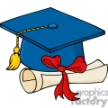 blue cap with a red ribbon diploma
