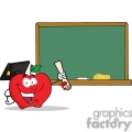 4305-Graduate-Apple-Character-Holding-A-Diploma-In-Front-Of-School-Chalk-Board