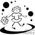black and white outline of a little girl going to lunch gif, png, jpg, eps, svg, pdf