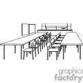 Black and white outline of a classroom with tables and chairs
