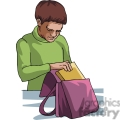 cartoon student packing his backpack gif, png, jpg, eps, svg, pdf