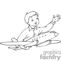 Black and white outline of a boy playing with an airplane