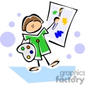 whimsical cartoon elementary school student painting