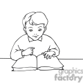 outline of a boy learning to read