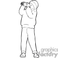 Black and white outline of a boy looking through binoculars
