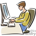 cartoon student typing at a computer