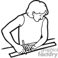 Black and white outline of a student using a ruler