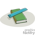 cartoon green textbook with a blue ruler  gif, png, jpg, eps, svg, pdf