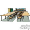 Realistic classroom with tables and chairs