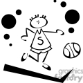 Black and white outline of a boy dribbling a basketball