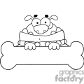 black and white outline of cartoon dog
