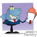 cartoon business shark with a flaming contract