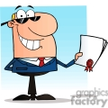 cartoon guy holding a contract