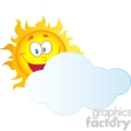 12898 RF Clipart Illustration Happy Sun Cartoon Character Hiding Behind Cloud