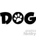 12809 RF Clipart Illustration Dog Text With Black Paw Print