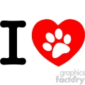 12813 RF Clipart Illustration I Love Text With Red Heart And Paw Print