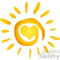 12887 RF Clipart Illustration Summer Hot Abstract Sun With Heart