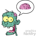 5074-Zombie-Head-Cartoon-Character-And-Speech-Bubble-With-Brain-Royalty-Free-RF-Clipart-Image