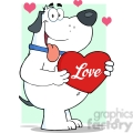 5244-Fat-White-Dog-Holding-Up-A-Red-Heart-Royalty-Free-RF-Clipart-Image