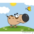 Cute Dog Cartoon Mascot Character With Butterfly On A Meadow