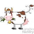 dairy cow with flower in mouth gif, png, jpg, eps, svg, pdf
