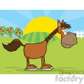 horse cartoon mascot character in country farm gif, png, jpg, eps, svg, pdf