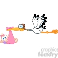 royalty free stork delivering a newborn baby girl