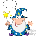 Clipart of Funny Wizard Waving With Magic Wand And Speech Bubble