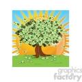 vector cartoon money growing on tree on a sunny day