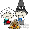 pilgrim couple and turkey in color  gif, png, jpg, eps, svg, pdf