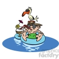 cartoon guy floating on rubber tube vacation