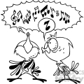 black white cartoon birds singing