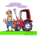 cartoon farmer with his tractor