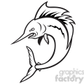 black and white sailfish jumping cartoon