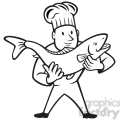 black and white chef cook holding trout fish