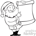 black and white santa holding blank list